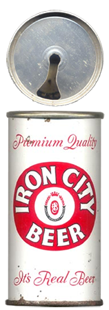 Iron City beer can with first pop-top